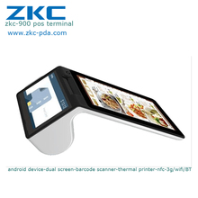 Smart Tablet GPRS Portable Handheld Device With Printer Touch Screen Terminal Android All In One System Pos Machine Price ZKC900