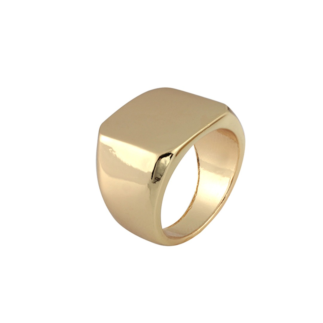 Simple Black/Gold/Silver Square Ring New Brand Men Width Signet Polished Finger Rings Shellhard Punk Ring Jewelry Size 6-12