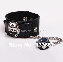 Punk Style Leather Skull Stud Bracelet With Chain Men's Metal Wristbands Hand Jewelry