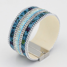 Women Leather Bracelets Multilayer Rhinestone Chain Fringe Combination Gold Silver-plated magnetic bracelets & bangles(China)
