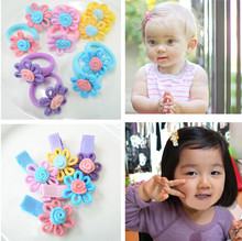 Free Shipping 10 Pcs (5 Pairs) Fabric Cloth Flower Hair Clips Girls' Safety Clips KIds Hair Accessories