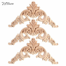 Modern 1PC 12.5 x 12.5cm Wood Oak Carved Corner Onlay Applique Furniture Unpainted Decorative Figurines Wooden Miniatures