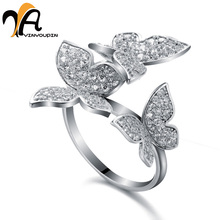 YayinYoupin Sterling Silver Ring Fashion Luxury 925 Butterfly Rings Women Engagement Jewelry 2017 New Collection