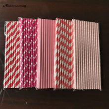 125pcs (5bags) Pink and Red Valentine Day Paper Straws Cake Pop Sticks Striped Party Drinking Straws Polka Dots Mason Jar Straw