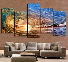 Canvas Wall Art Pictures HD Printed Painting Frame Modern Living Room Decor 5 Panel Ocean Sea Wave Sunset Seascape Poster PENGDA