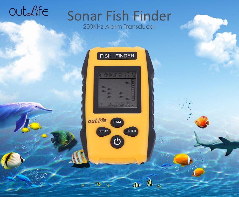 Outlife Smart Fish Finder Sonar Sounder 0.7-100M 200KHz Fish Finder Sonar Sounder Alarm Transducer ABS Underwater Fish Finders<br>