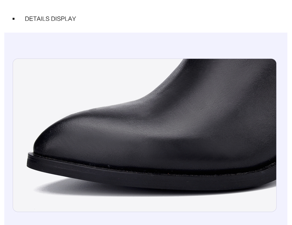Donna-in 2017 new style genuine leather ankle boots pointed toe thick heel chelsea boots calf leather women boots ladies shoes 96350-17 (9)
