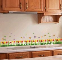 HOT SALE!Wall Sticker Pretty Tulips Small Fence Removable Wall Stickers Home Decoration Vinyl Decal For Bedroom