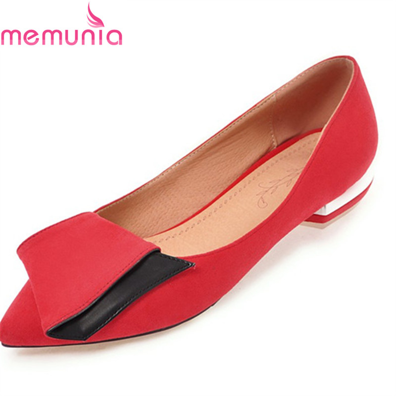 MEMUNIA 2018 sweet shoes women pumps high heels shoes low heels pointed toe  fashion Shallow mouth large size dress shoes<br>