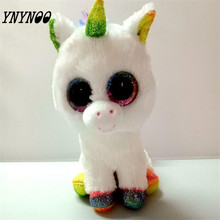 (YNYNOO)TY Leapord &Unicorn Big Eyes Plush Toys Ty Beanie Boos Kids Lovely Children Gifts Kawaii Stuffed Animals Dolls Present(China)