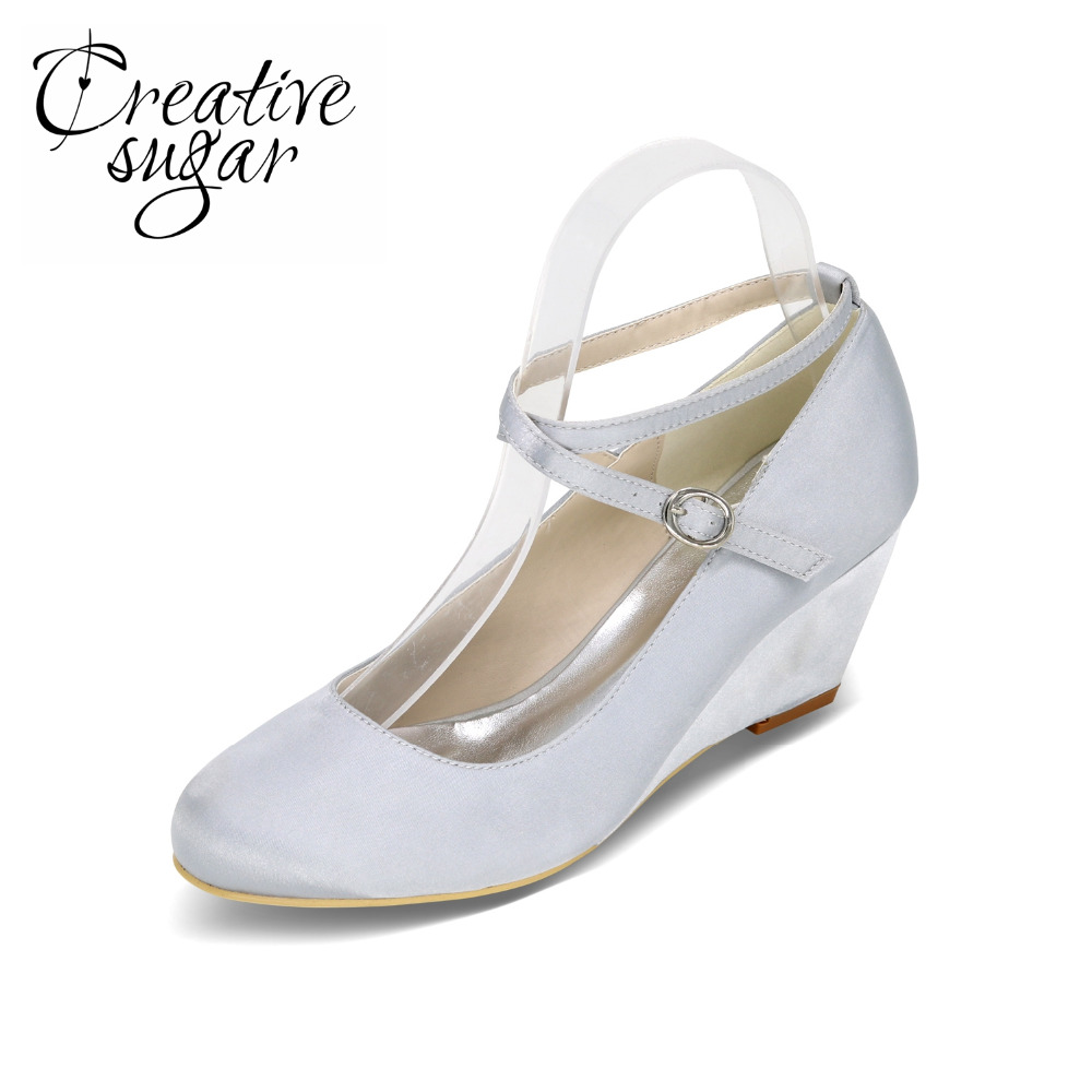 Creativesugar Elegant ladys wedges crossed strap satin dress shoes concise cocktail wedding party champagne ivory purple white<br>