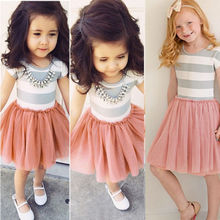 Baby Girl Dress Pink Striped Princess Lace Dress Kids Toddler T-Shirt Tutu Dress