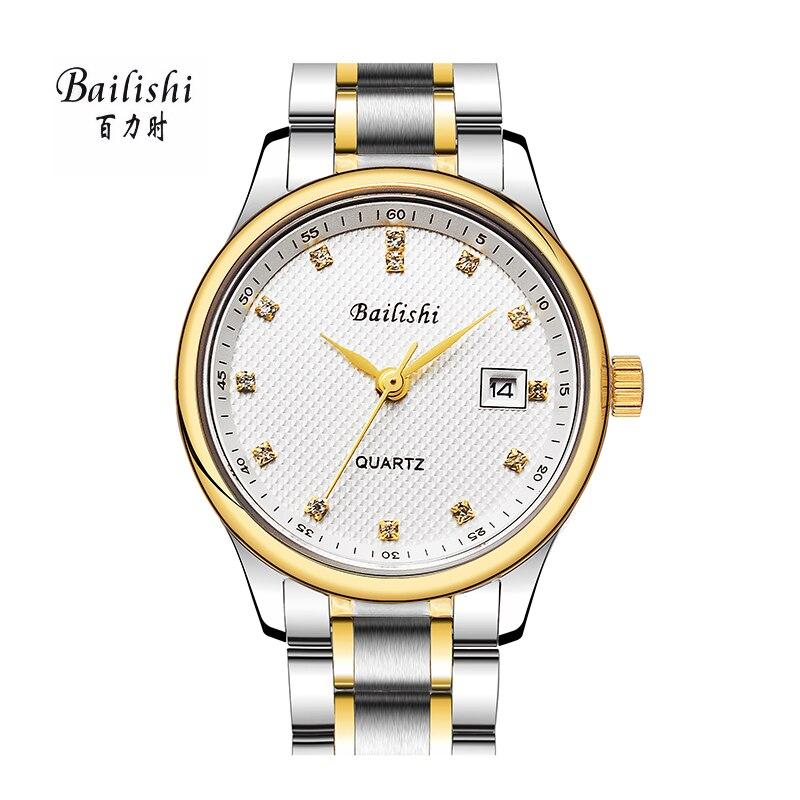 BAILISHI top luxury brand men watches Diamonds Hour Stainless Steel Sports Wrist Watch Male causal quartz male watch Waterproof<br>