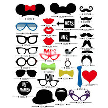 31Pcs DIY Mask Photo Booth Props Mustache On A Stick Wedding Party Fun Favor