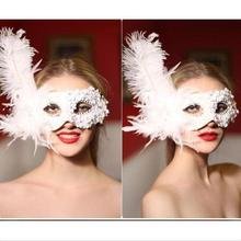 4 Colors--1PCS Sexy Organza/Satin Ribbon Flower Halloween Mask Venice Feather Mask Princess Dance Party Masquerade Mask