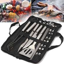 Stainless Steel BBQ Utensil Grill Set Tools Outdoor Cooking BBQ Kit Carry Bag Camping Barbecue Accessories Tools 18 In 1