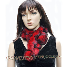 FREE SHIPPING CX-S-72A 2016 Most Popular Newest Design Elegant Real Rabbit Fur Fashion Scarf With Fur Balls ~(China)