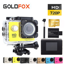 GOLDFOX Promotion 720P HD Action Camera Bike Helmet Sport DV 30M Go Waterproof Pro Video Camera Car DVR With Retail Packing Box