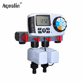 Automatic 4-Zone Irrigation System Garden Water Timer Controller with 2 Solenoid Valve #10204