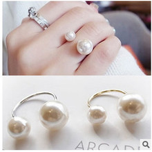 ra501 Simple European and American street shooting joint imitation pearl adjustable ring