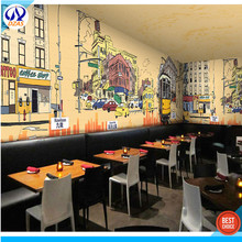 3D Graffiti Retro Architecture Theme Wallpaper Restaurant Coffee Tea Shop Hong Kong Style Culture Wallpaper Seamless Large Fresc(China)