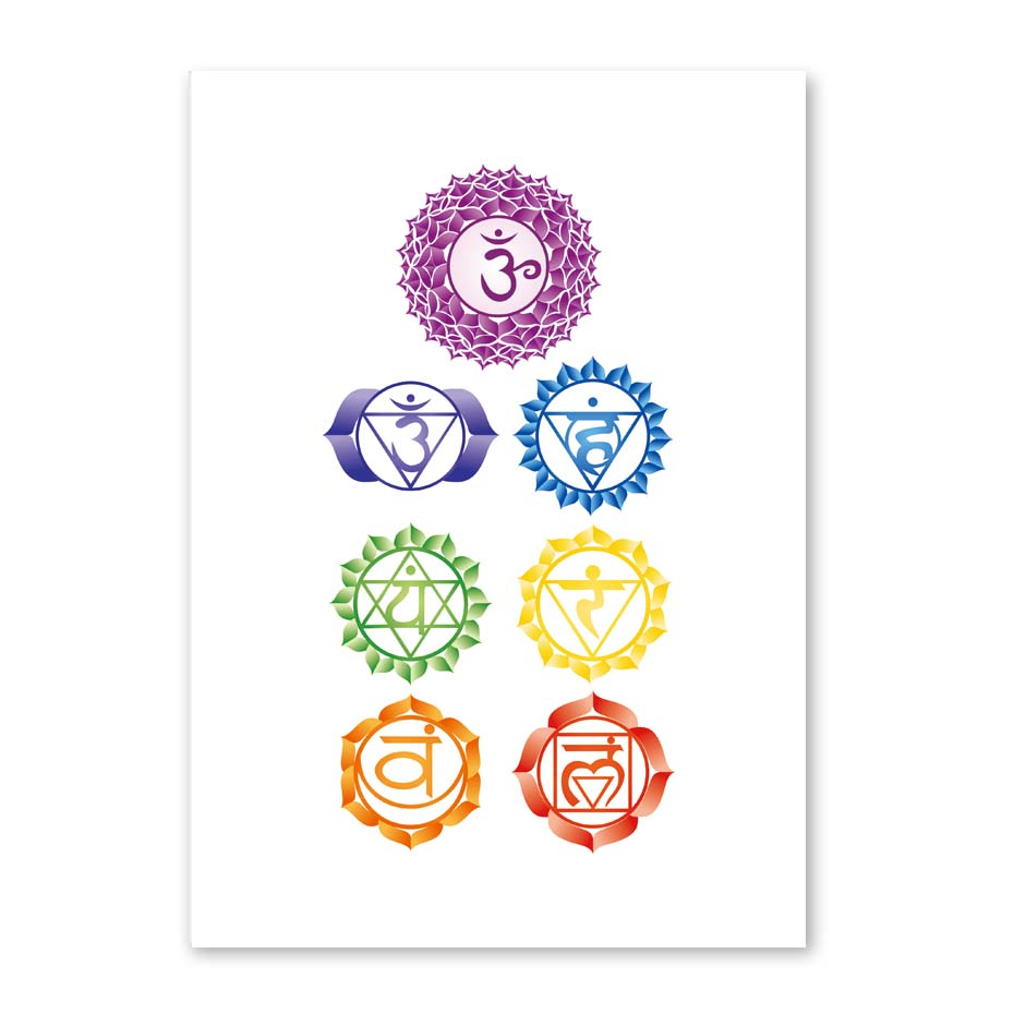 Chakras Canvas Art Print Painting Poster , Health Aum Meditation Yoga Om Symbol Poster Canvas Painting Wall Picture Home Decor (4)