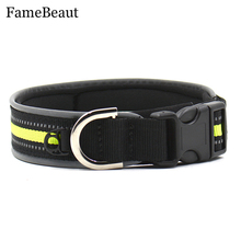 FameBeaut Hot Sale Outdoor Light Reflective Puppy Collar Harnesses Nylon Pet Cat Dog Collar Adjustable Reflecting Collar S-XL
