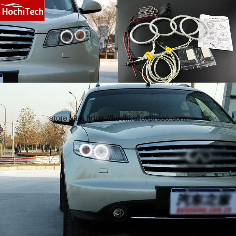 HochiTech WHITE 6000K CCFL Headlight Halo Angel Demon Eyes Kit angel eyes light for INFINITI FX35 FX45 2003-2008<br>