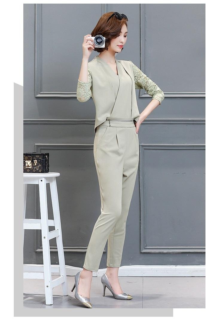 Women Leisure Set Autumn Dress New lady Slim Two Pieces Suits Blouse+Pants Fashion Long Sleeve V Collar Ladies Suits A112 YAGENZ 12