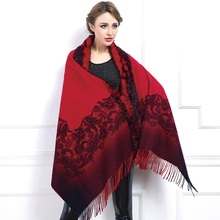 2015 New Fashion Winter 100% Cashmere And Rabbit Hair Print Tassel Pashmina Scarf Women Elegant Thick Soft Hot Sale 70cm*200cm
