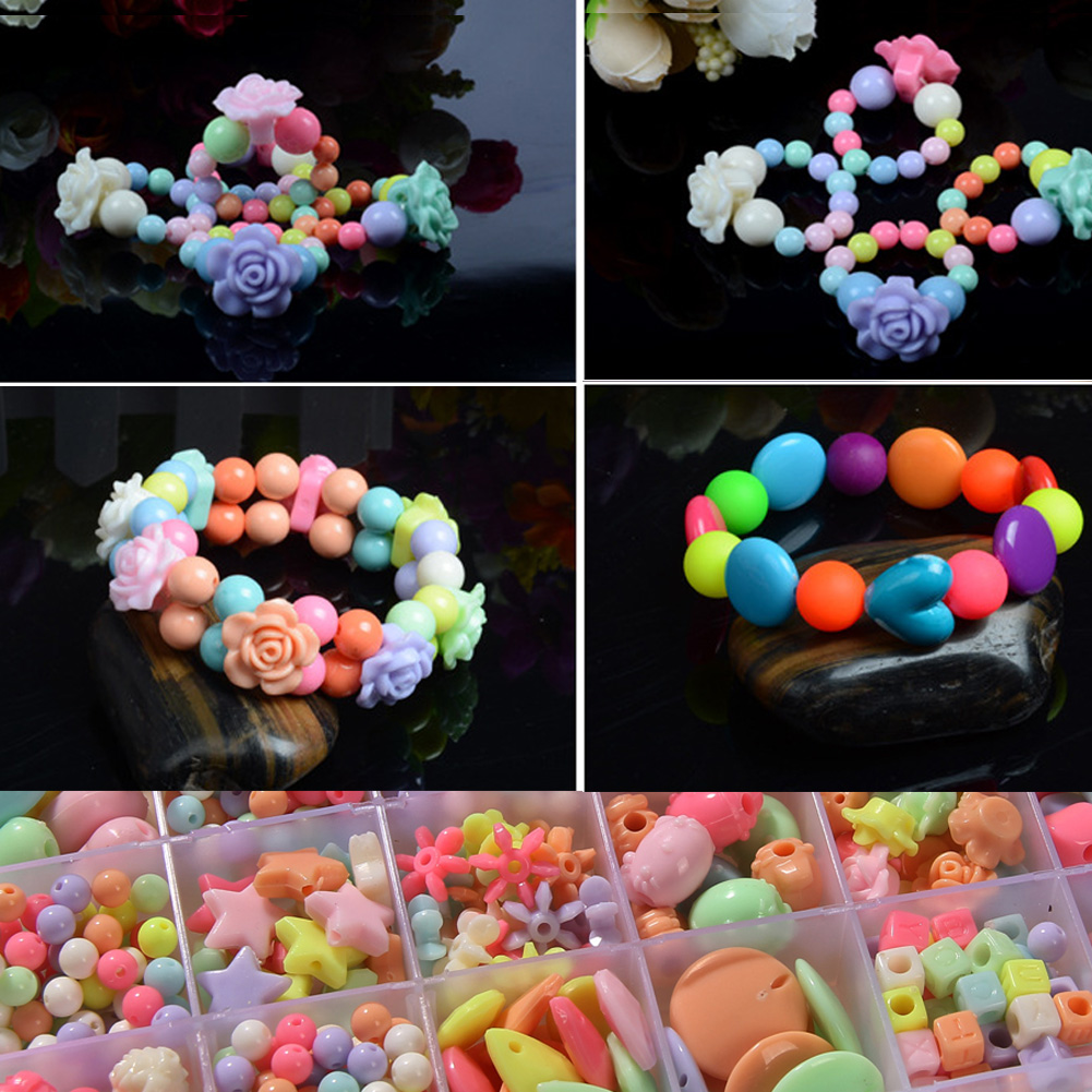 Confectionery - Assorted Plastic Acrylic Bead Kit Accessories DIY Bracelets Toys Jewelry Making Bead Kit