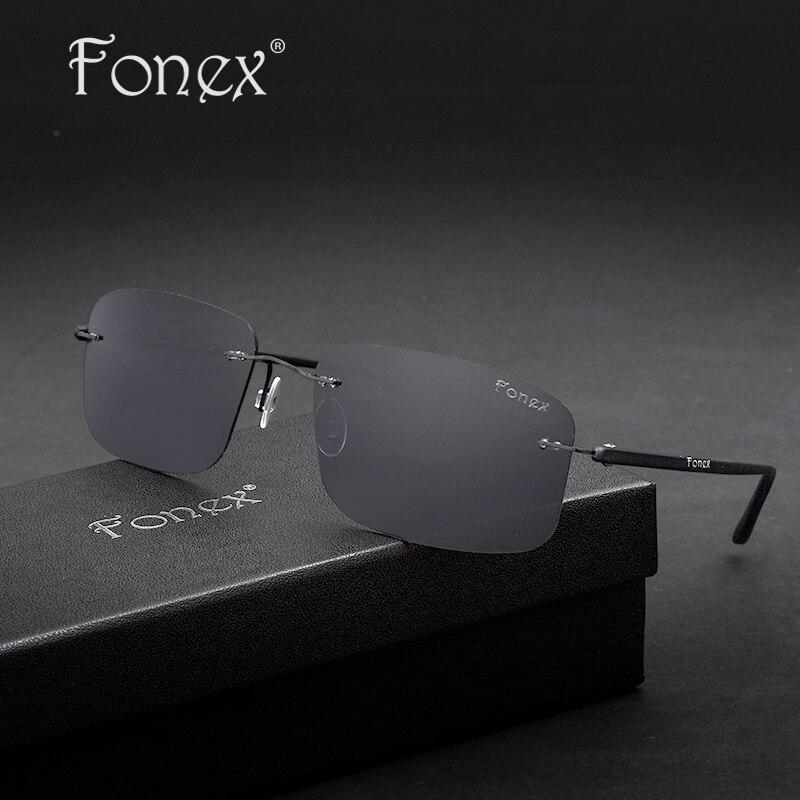 High Quality Polarized Rimless Sunglasses Titanium Mens Brand Designers Memory Light TR90 Black/Gray Square Fishing Sun Glasses<br><br>Aliexpress
