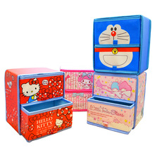 Hello Kitty Cartoon Cute Box Pu Desktop Finishing Box Double Layer Sundries Drawer Storage Cabinet Storage Box Makeup Organizer