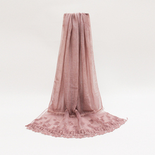 Newest Solid Color Leaf Embroidery Lace Trim Shawl Quality Cotton Viscose Lacework Edges Scarf Plain Muslim Head Hijab YG318(China)