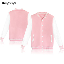 2017 women pink baseball jerseys clothing Solid color casual harajuku kawaii button lantern sleeve V-Neck 4xl Hoodies wangcangli(China)
