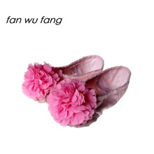 fan wu fang Pink Canvas Appliques Chrysanthemum Skin Head Dance Shoes Ballet Shoes Soft Yoga Shoes According The CM To Buy(China)