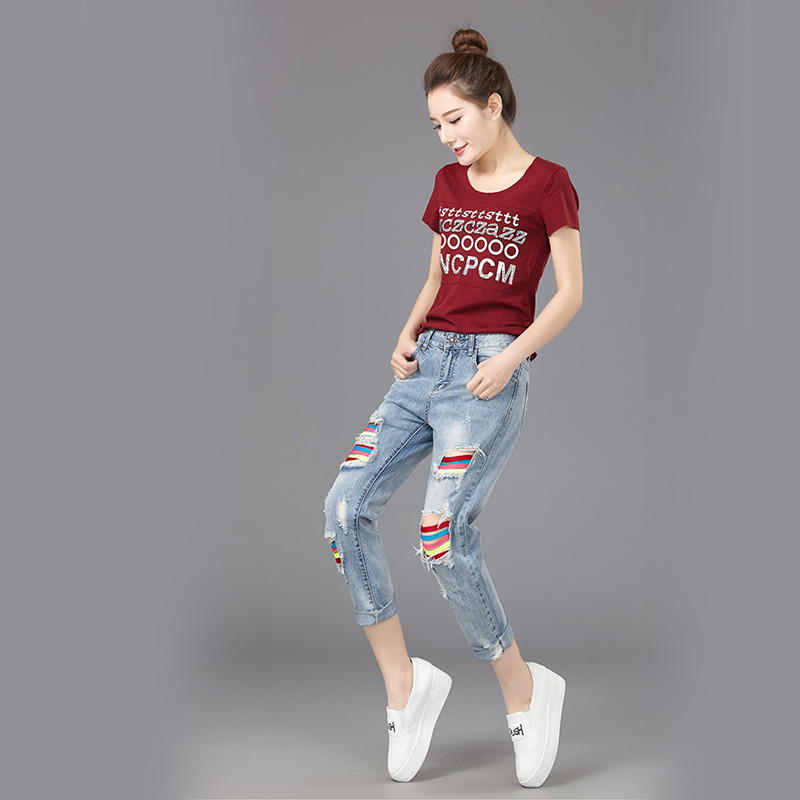 Hot Woman Jeans Summer Spring Rainbow Color Bar Hole Distressed Ankle-Length Cross Pants Women Casual Pencil Holes TrousersОдежда и ак�е��уары<br><br><br>Aliexpress
