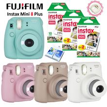 Fujifilm Instax Mini 8 Plus Camera + 50PCS Sheet Fujifilm Fuji Instax Mini White film for Mini 8 25 Yellow Blue White Black Pink(Hong Kong)