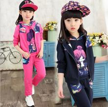 Girls Spring Autumn And Winter New Active Three-Piece Clothing Children Sports Pullover With Hooded Cute Coat HW2018(China)