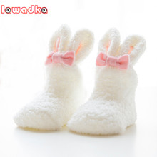 Lawadka Winter Coral fleece Baby Girls Socks Newborn Soft Cute Rabbit Baby Socks S(0-11M)andM(12-24M)