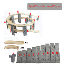 Thomas and Friends--10PCS Plastic Spiral Tracks Train Track Railway Accessories Track Bridge Piers With Wooden Tracks(China)