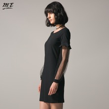 ME Lace Women Dress Black Ruffle Long Sleeve Sexy Party Plus Size O-neck Women Mini Dresses Evening Bodycon Vestidos Dress(China)
