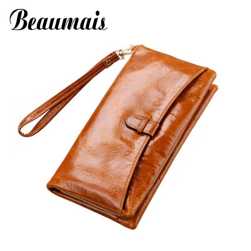 Beaumais Genuine Leather Women Long Wallets Coin Purse Female Clutch Carteira Feminina Women Leather Wallets Card Holder DB5741<br><br>Aliexpress