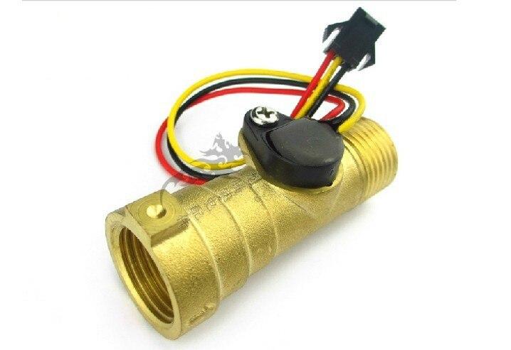 Free shipping Pure Copper brass G1/2 1-30L/min DC3V-18V fuel gas water flow sensor Hall turbine flowmeter<br><br>Aliexpress