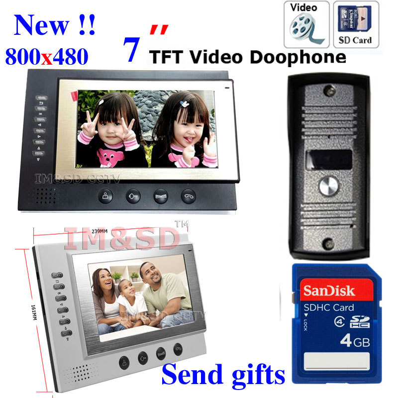 7 inch Monitor Color Video Door Phone Intercom System Night Vision Waterproof Camera 8GB SD Card  Video Record<br><br>Aliexpress