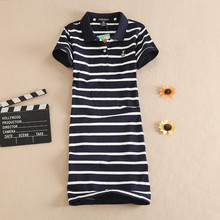 2017 New Polo Stripe Print Embroidery Party Casual Cartoon Dress T Shirt Summer Evening Mini Women Vestidos Cotton Robe Ete