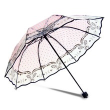Transparent Umbrella Rain Women Flower Butterfly Parasol Long-handle Umbrella Three-folding Sunny and Rainy Umbrella Paraguas
