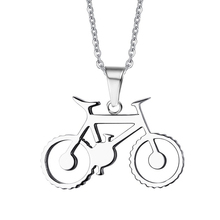 Bike Pendant Necklace Cool Men Jewelry Stainless Steel Free Chain 2017 New Fashion(China)
