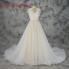 2018 new design champagne and ivory lace wedding dress custom made wedding gown factory directly wholesale price bridal dress(China)