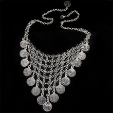 H:HYDE Vintage Bohemia Silver Color Coins Pendant Necklaces Tassel Mesh Chains Necklaces collier Parure Bijoux Femme(China)